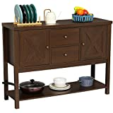 Itaar Buffet Table with Storage Cabinet,Console Sofa Table with Two Drawers and Bottom Storage Shelf for Living Room and Entryway (Brown)