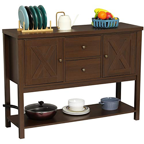 Itaar Buffet Sideboard with Storage Cabinet,Console Sofa Table with Two Drawers and Bottom Storage Shelf for Living Room and Entryway (Brown)