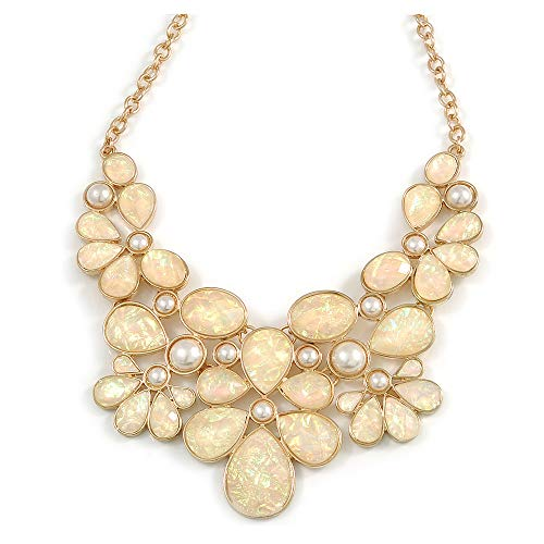 Avalaya AB Resin Stone and White Peal Floral Bib Necklace in Gold Tone - 42cm L/ 8cm Ext
