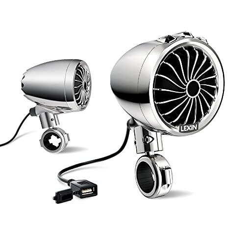 LEXIN S3 3 '' Sistemas de Audio de Motocicleta Impermeables con Radio FM, Altavoces Bluetooth de Motocicleta con Cargador de teléfono USB para 7/8 '' a 1.25 '' Manillar, Chorme