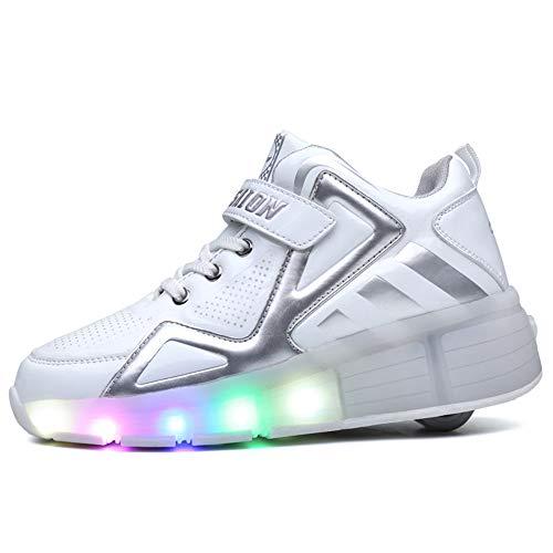 WWSUNNY Unisex Kinder Jungen Mädchen LED Rollschuh Schuhe mit USB Aufladen Blinken Leuchtend Skateboardschuhe LED Skate Rollen Schuhe Trainer Gymnastik Sneakers für Junge Mädchen Weihnachten Ostern