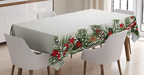 ABAKUHAUS Natale Tovaglia, Eve Magia di Capodanno, Rettangolare per Sala da Pranzo e Cucina, 140 cm x 200 cm, Multicolore