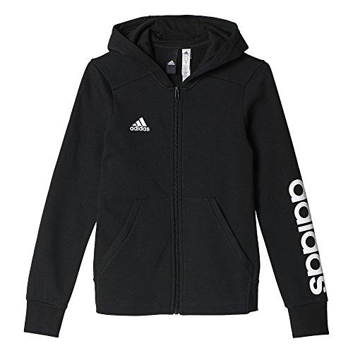 adidas Mädchen Essentials 3-Stripes Mid Hoody, schwarz (Black/White), 140
