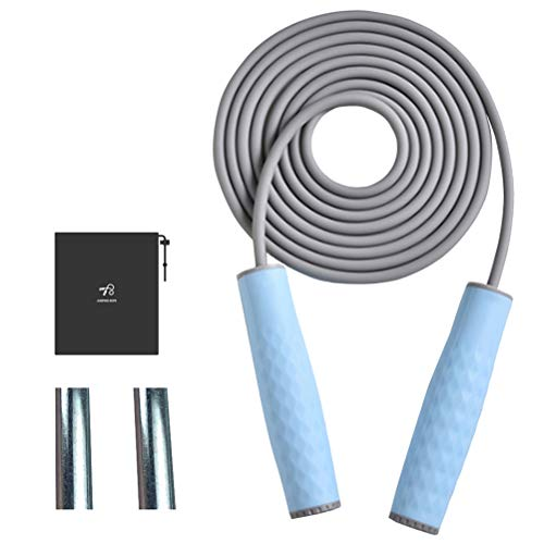 JJunLiM Gewichtetes Springseil, verstellbar, 3 m Länge, Geschwindigkeits-Springseil für Fitness, Gewichtsverlust, schweres Springseil für Training, Boxen, MMA, Double Unders, Cardio-Übung (blau)