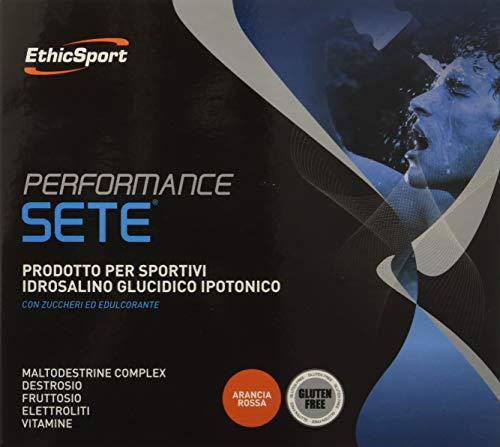 EthicSport - Performance Sete - Confezione da 14 buste x 22 gr - Gusto: Arancia - Integratore alimentare che contribuisce al mantenimento di prestazioni di resistenza ottimali durante l'attività sportiva