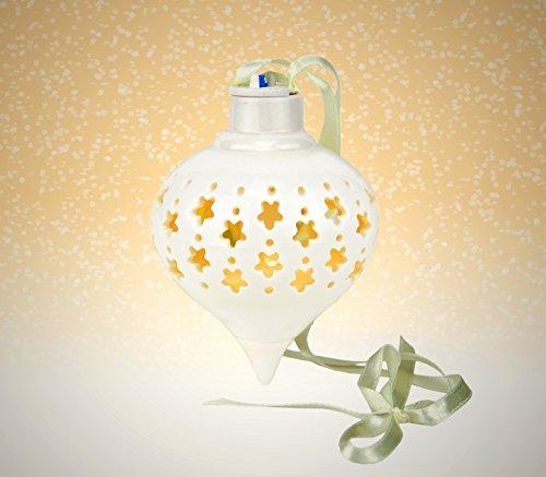 Unitable Starry Ball - Palla di Natale in ceramica con LED + 3 batterie di ricambio, motivo: stelle + pois, decorazione natalizia brillante, a forma di pigna, in porcellana bianca