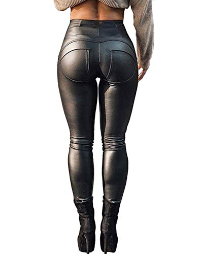 FITTOO Leather PU Elastic Shaping Hip Push up Butt Lift Pants Black Sexy Leggings for Women