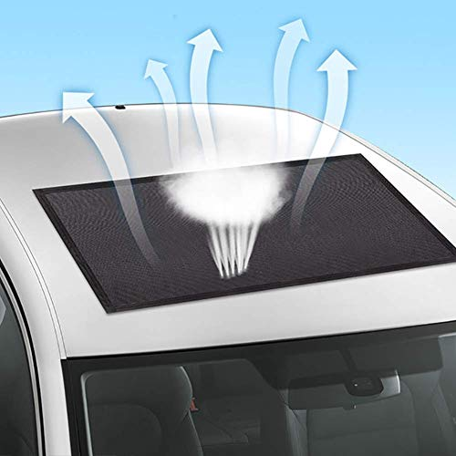 ACUMSTE Car Sunroof Sun Shade Net ,Car roof Mesh 10 Seconds Quick Install , UV Sun Protection Cover When Parking on Trips- Blackby Kids Breastfeeding When Parking on Trips- Black