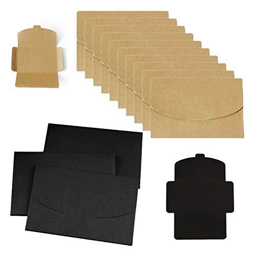 50 Stück Kraftpapier Umschläge, Briefumschläge, Umschläge, Fotohalter für Postkarten,Handgefertigte süße Umschläge für Grußkarten, Einladung, Geburtstagskarten (Gelb+Schwarz, 16*10.5cm)