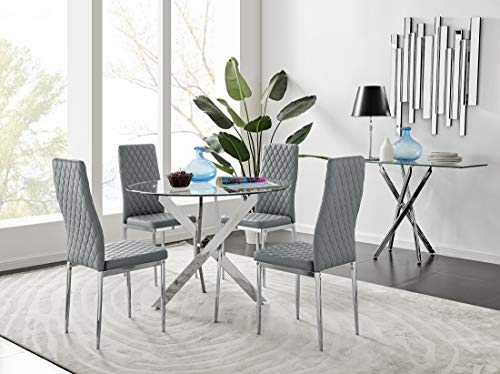 Novara Modern Round Chrome Metal And Clear Glass Dining Table And 4 Stylish Faux Leather Chrome Leg Milan Dining Chairs Set (Dining Table + 4 Grey Milan Chairs)