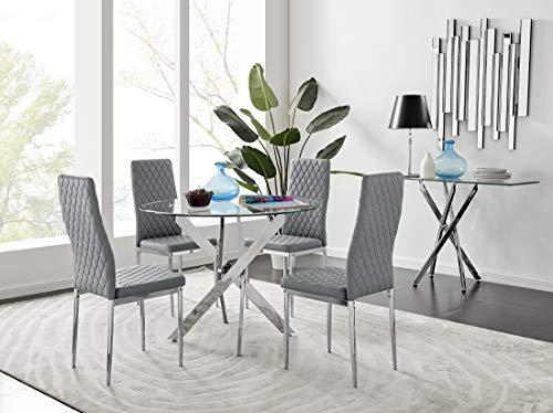 Furniturebox UK Novara Modern Round Chrome Metal And Clear Glass Dining Table And 4 Stylish Milan Dining Chairs Set (Dining Table + 4 Grey Milan Chairs)
