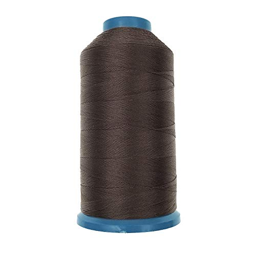 JZK 1500 yardas T70 69# marrón fuerte resistente hilo de coser de nylon unido para tapicería de cuero jeans lona alfombra cortina de cuentas para máquina industrial, overlock, costura a mano
