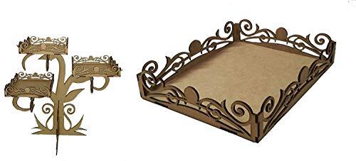 Kit para hacer bandejas de madera DM + bandeja a juego para candy bar mesa dulce. Manualidades con madera