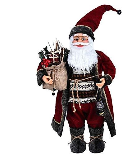 Weihnachtsmann Figurenpuppe 30/45cm Weihnachtsfigur Weihnachtsdeko Weihnachtsschmuck, Roten Robe-Verzierung, Weihnachten für Kinderfamilie und Freunde