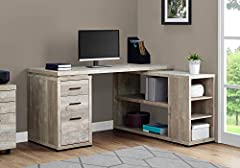 Outfit your office with a corner desk that is as beautiful as it is functional and practical Plenty of space for a computer, lamp, picture frames, and offices supplies with approximately 60 inches of length Taupe reclaimed wood look finish with black...