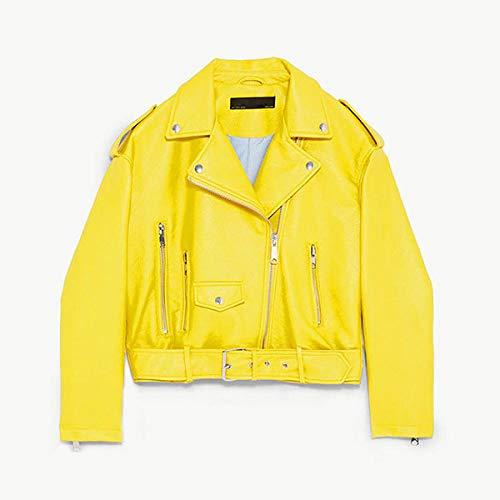 Damen Lederjacke,Mode Vintage Klassiker Gelb Asymmetrisches Design Damen Herbst Frühling Leder Biker Moto Jacke, Bequemes Weiches Pu- Ledermaterial, Retro Mantel Outwear Für Outdoor-Fahren, Gelb,