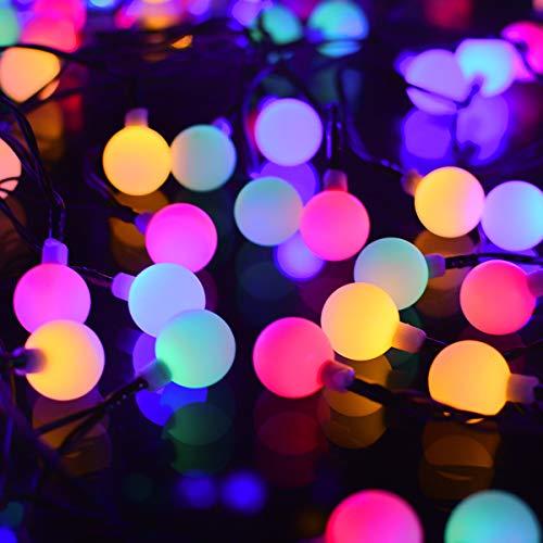 12M Guirnaldas Luces Solar, 120 LED Globos Solares Colores Luz IP54 Impermeable Para Exteriores,Navidad, Terraza Sombrillas, Jardin, Ventana, Interior, Exterior, Año nuevo Fiesta, Decoracion