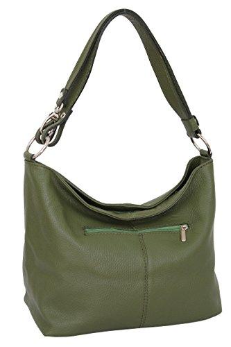 Ambra Moda GL005 - Borsa con tracolla, borsa a mano in pelle, borsa da spalla, hobo bag da donna, Verde (verde militare), M