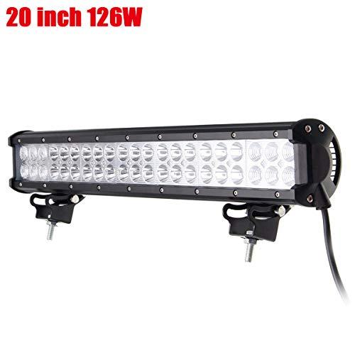 Willpower 20 Zoll 126 W Offroad LED-Lichtleiste Spot Flood Combo Beam Zweireihige LED-Arbeitsscheinwerfer Nebelscheinwerfer mit Montagehalterung für ATV, LKW, 4WD, Boot