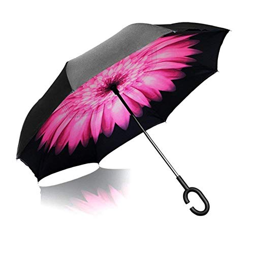 SAIFEE SOLUTIONS Double Layer Modern Automatic Inverted Reversible No Drip Umbrella with C Shape Handle Fast Monsoon Offer Safety Umbrella Heavy Duty And Dust Proof (Multi color) (NORMAL)