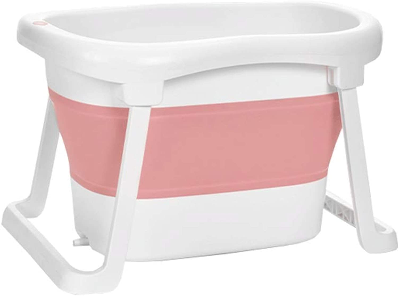 赤ちゃん折りたたみ風呂樽大新生児赤ちゃん浴槽0-15歳利用可能 (Color : ピンク)