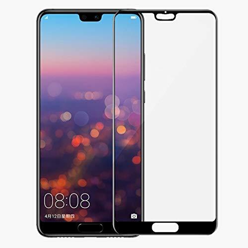 FanTings Película protetora de tela para Huawei P20 Lite, [dureza 9H, cobertura total, sem bolhas e impressões digitais], película de vidro temperado resistente a arranhões para Huawei P20 Lite-Preto (pacote com 1)