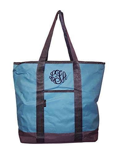 Everest Solid color Shopping Tote -Personalization Available (Monogram - Aqua)