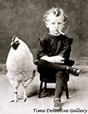 Boy Smoking A Cigarette with A Chicken Circa 1900 Historic Tin Sign Vintage Metal Pub Club Cafe Bar Home Wall Art Decoration Poster Retro 8x12 Inches