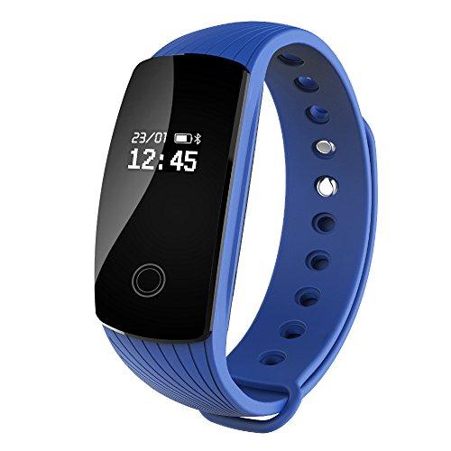 RIVERSONG Bracciale Fitness, Resistente all'acqua Braccialetto Orologio Fitness Cardiofrequenzimetro activity tracker con OLED Pedometro Calorie Tracking salute Smartwatch per Android iOS (Blu)