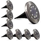 B.K.Licht 8er-Set Solar LED-Außenleuchte I Ø119 mm I IP65 wasserdicht I Automatisch Ein/Aus I LED-Gartenlampe I Bodenleuchte I Solarleuchte