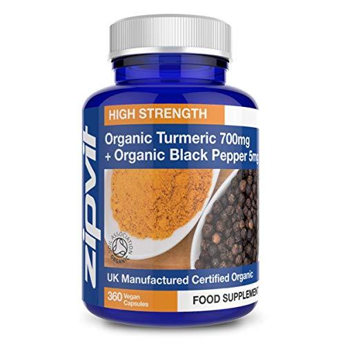 Organic Turmeric Curcumin 700mg and Organic Black Pepper, 360 Capsules. Certified Organic. Vegan. 12 Months Supply.