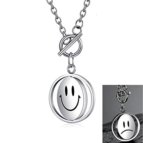 Smiley Face Pendant Necklace For Women Rotating Titanium Steel Necklace With Long Chain (Smile-Unhappy)