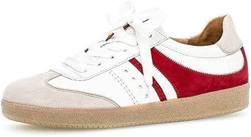 Gabor Damen Sneaker, Frauen Low-Top Sneaker,Best Fitting,Optifit- Wechselfußbett, weibliche Lady Ladies feminin,vanil./Weiss/Rubin,39 EU / 6 UK