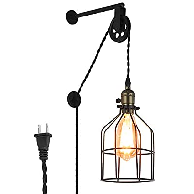 Unique Retro Industrial Cage Wall Lights for Farmhouse Bedroom Bedside Decor, Adjustable Modern Rustic Vintage Wall Sconce Hanging Lamp for Living Room Reading Corner with Plug in Cord(no Bulb)
