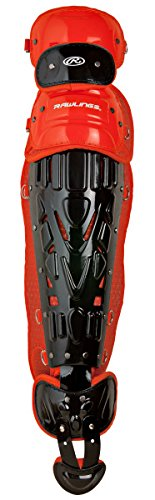 Rawlings Sporting Goods Catchers Adult Velo Series Leg Guards, 16.5', Black/Orange