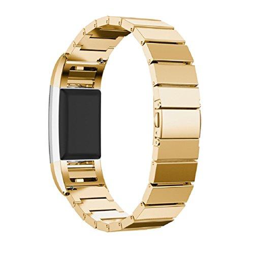 Vovotrade 2016, echt roestvrij stalen armband, smartwatch bandbeugel voor Fitbit Charger, goud