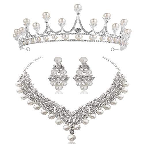 N/A. Corona de novia con diamantes de perlas para el pelo de la novia, joyería triple para la ropa, joyería para el matrimonio, para mujeres, collar y pendientes, juego de joyas para amigos