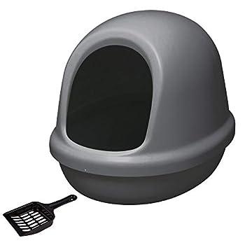 Iris Ohyama, Maison de toilette pour chat ouverte avec pelle - Dome Litter Box - PNE-500F, plastique, gris, 50 x 39,4 x 39 cm