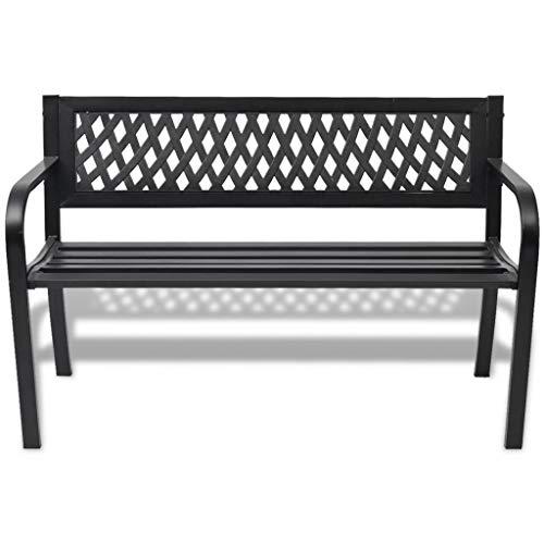 Gartenbank für den Außenbereich, Gartenbank aus Stahl mit Rückenlehne aus PVC, Gartenbank für den Außenbereich, Schwarz, 118 x 50 x 75 cm