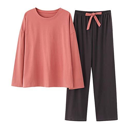 DFDLNL Conjunto de Pijama de otoo para Mujer, Ropa de Dormir de algodn, Ropa Holgada para el hogar, Traje de Noche Simple, Pijama de Gran tamao L