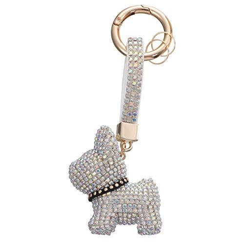 VALICLUD Bulldog Keychain Diamond Car Circle Key Rings Pendant Rhinestone Crystal Purse Animal Pet Charm Handbag Backpack