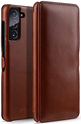StilGut Book Hülle kompatibel mit Samsung Galaxy S21 Plus 5G Hülle aus Leder mit Clip-Verschluss, Lederhülle, Klapphülle, Handyhülle - Cognac Antik