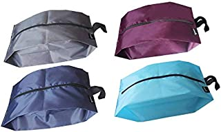 MISSLO Portable Nylon Travel Shoe Bags With Zipper Closure (Pack 4, Mix Color)