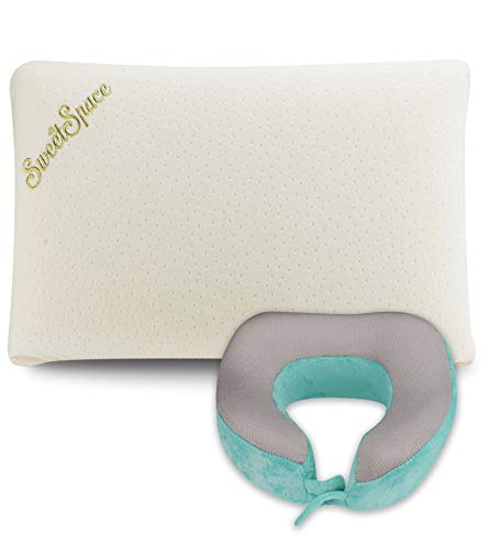 Latex Foam Pillow, Orthopedic Pillows for Sleeping with Machine Washable Pillowcase, Natural and Soft Density with an Additional Travel Neck Pillow