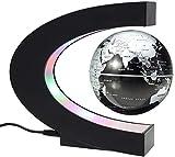 MECO Globus Beleuchtet, 8 cm Schwebender Gobus Magnetische Kugeln interaktiver globus für Kinder, Business-Geschenke, Geburtstag Geschenke, Wohnkultur Büro Dekoration - Schwarz