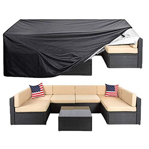 dDanke Patio L Shape Sofa Covers Universal Sectional Furniture Cover with Locking Rope Waterproof Dustproof 125.98x125.98 Inch Grey