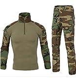 Men Combat T Shirt and Pant Set 1/4 Zip Camo Military Tactial Uniform with Long Sleeve BDU Airsoft Hunting Shirt (L, Jungle Camouflage)