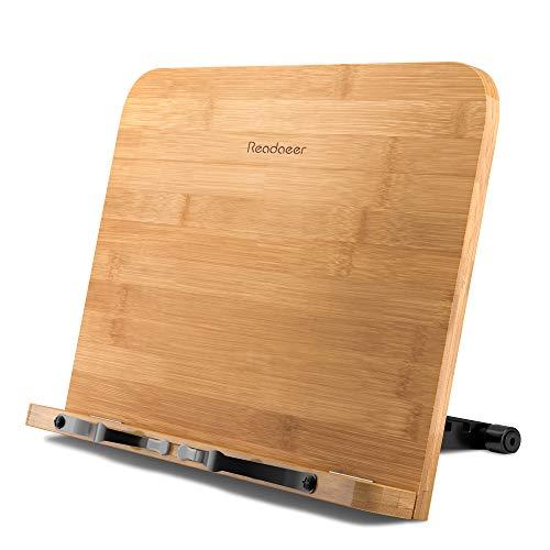 Holz einstellbar faltbar Leseständer/Buchhalter/Kochbuchhalter/Cookbook stand/ Book rest/Bücherständer/Book Stand aus Bambus für Kochen und Aufschreibung, können überall aufgestellt werden.
