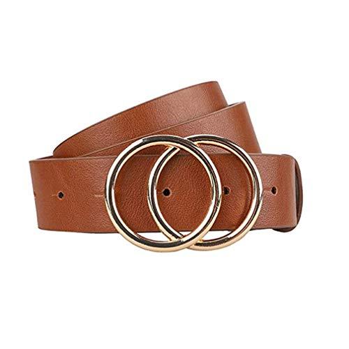 Gackoko - Cinturón de piel para vestido y jeans, de piel auténtica y suave con hebilla de doble anilla -  Marrón -  Medium
