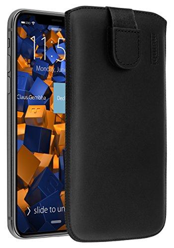 mumbi Echt Ledertasche kompatibel mit iPhone 4 / 4S Hülle Leder Tasche Case Wallet, schwarz